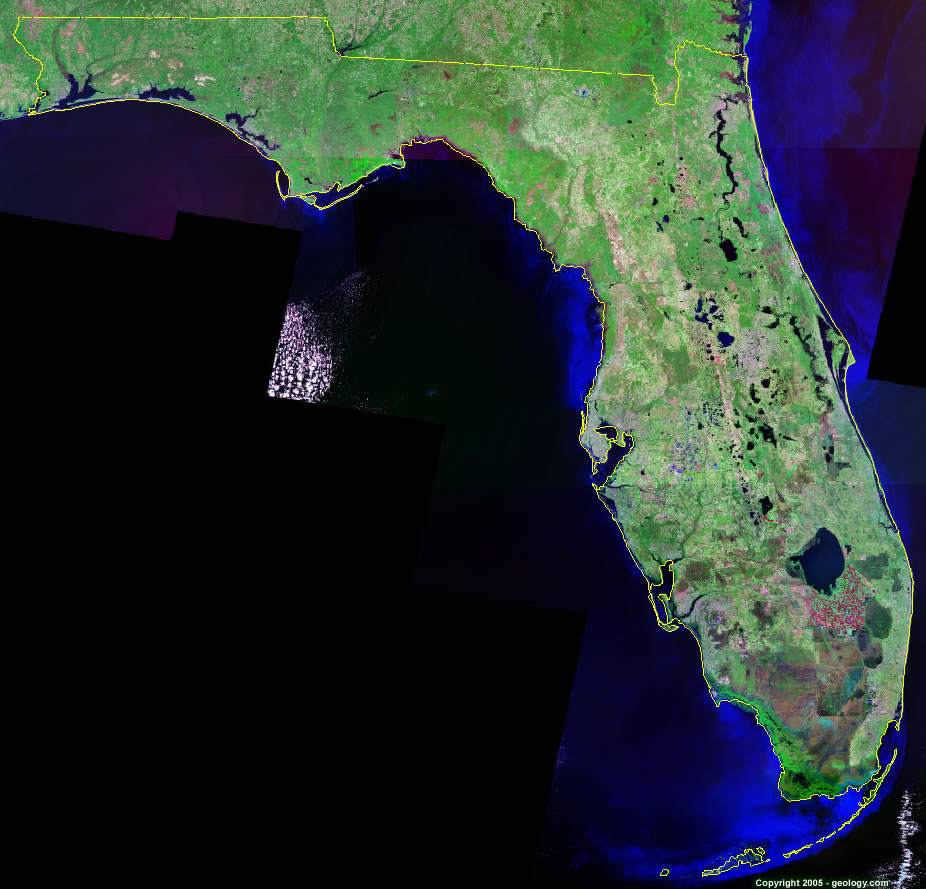 Florida Satellite Images Landsat Color Image - Florida map to color