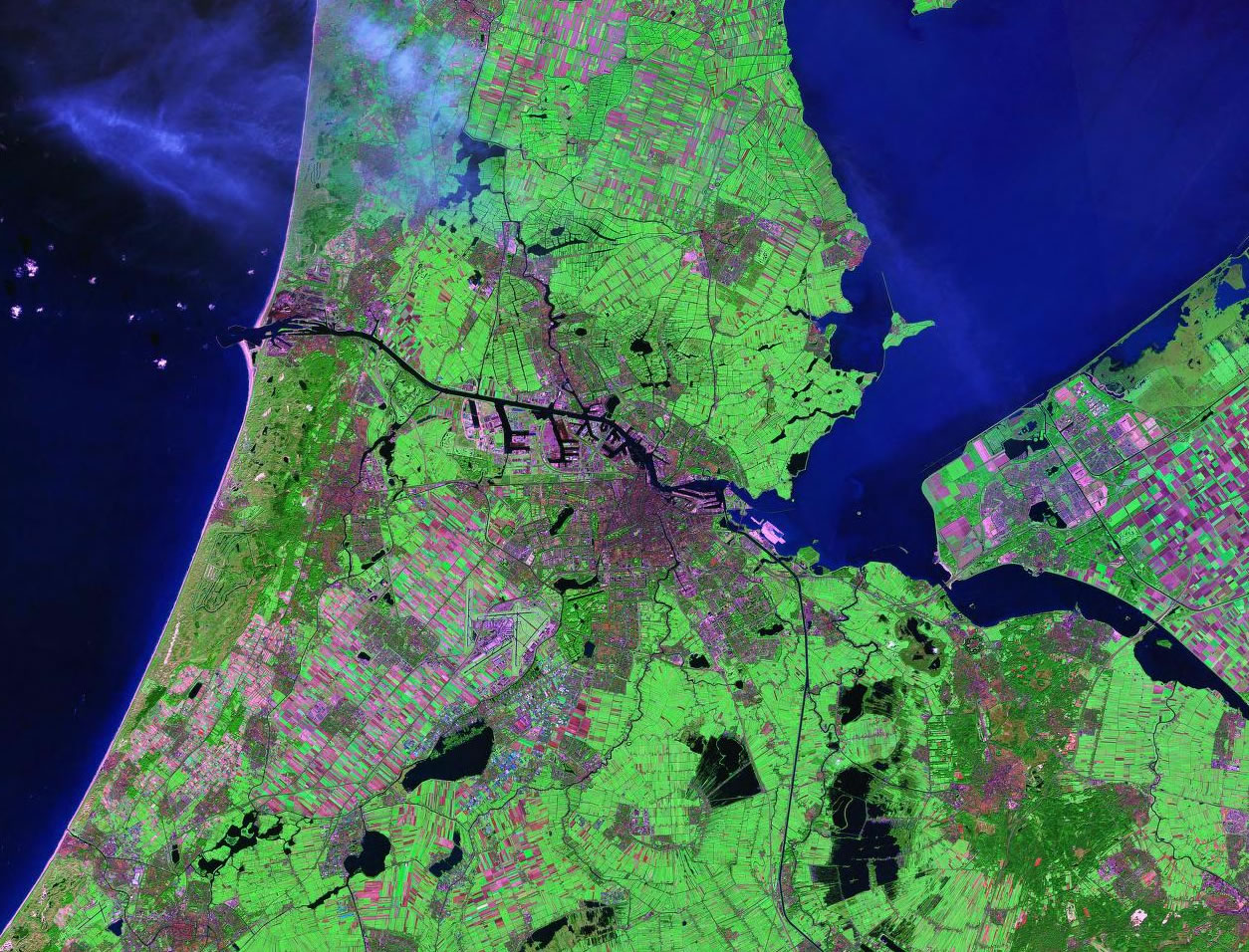 Amsterdam Netherlands satellite image map