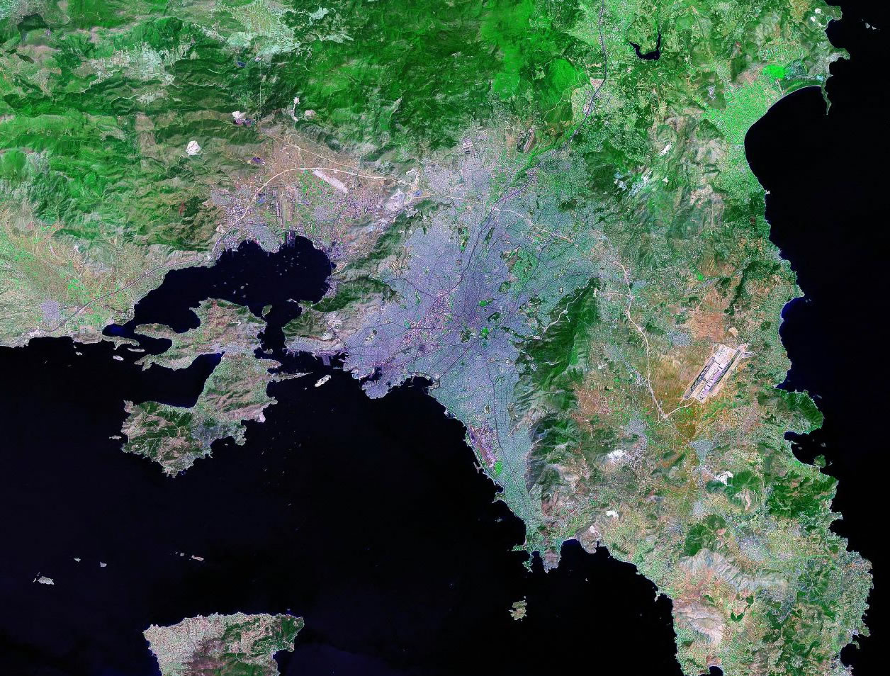Athens Greece satellite image map