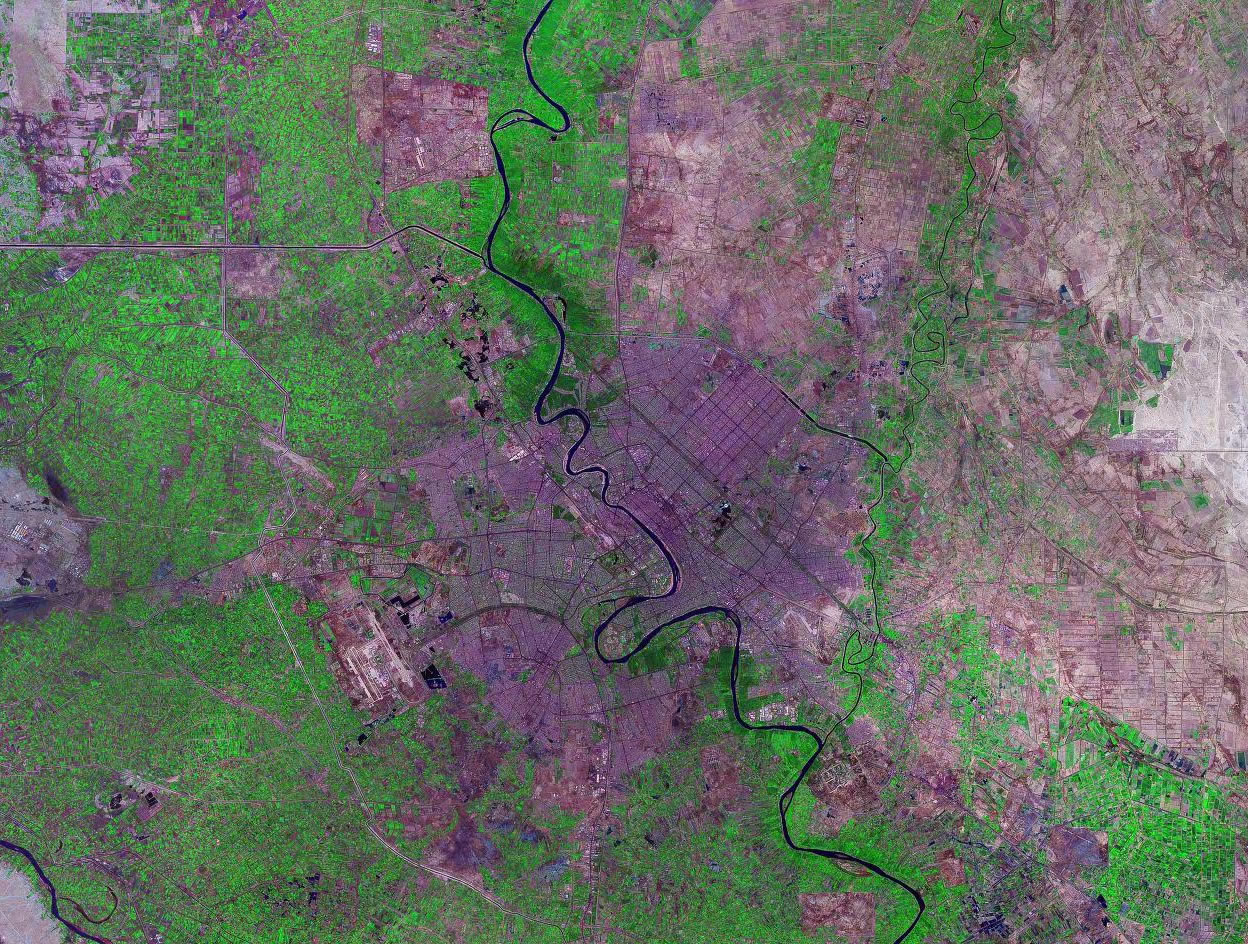 Baghdad Iraq satellite image map