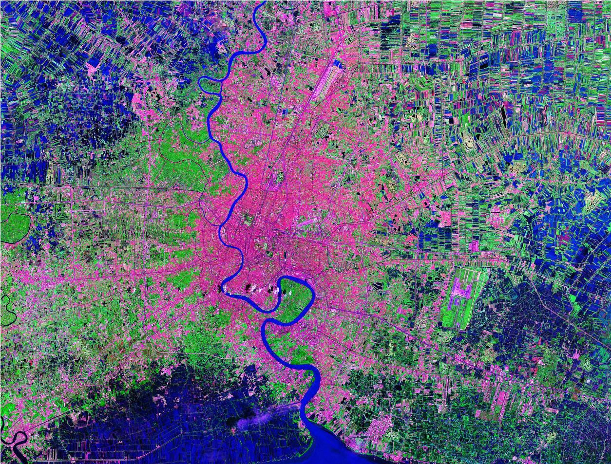 Bangkok Thailand satellite image map