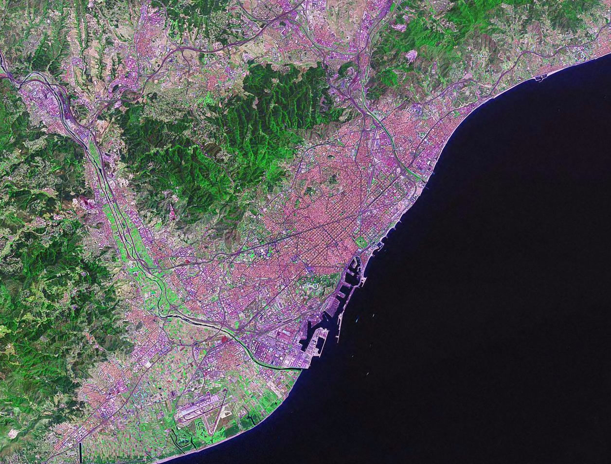 Barcelona Spain satellite image map