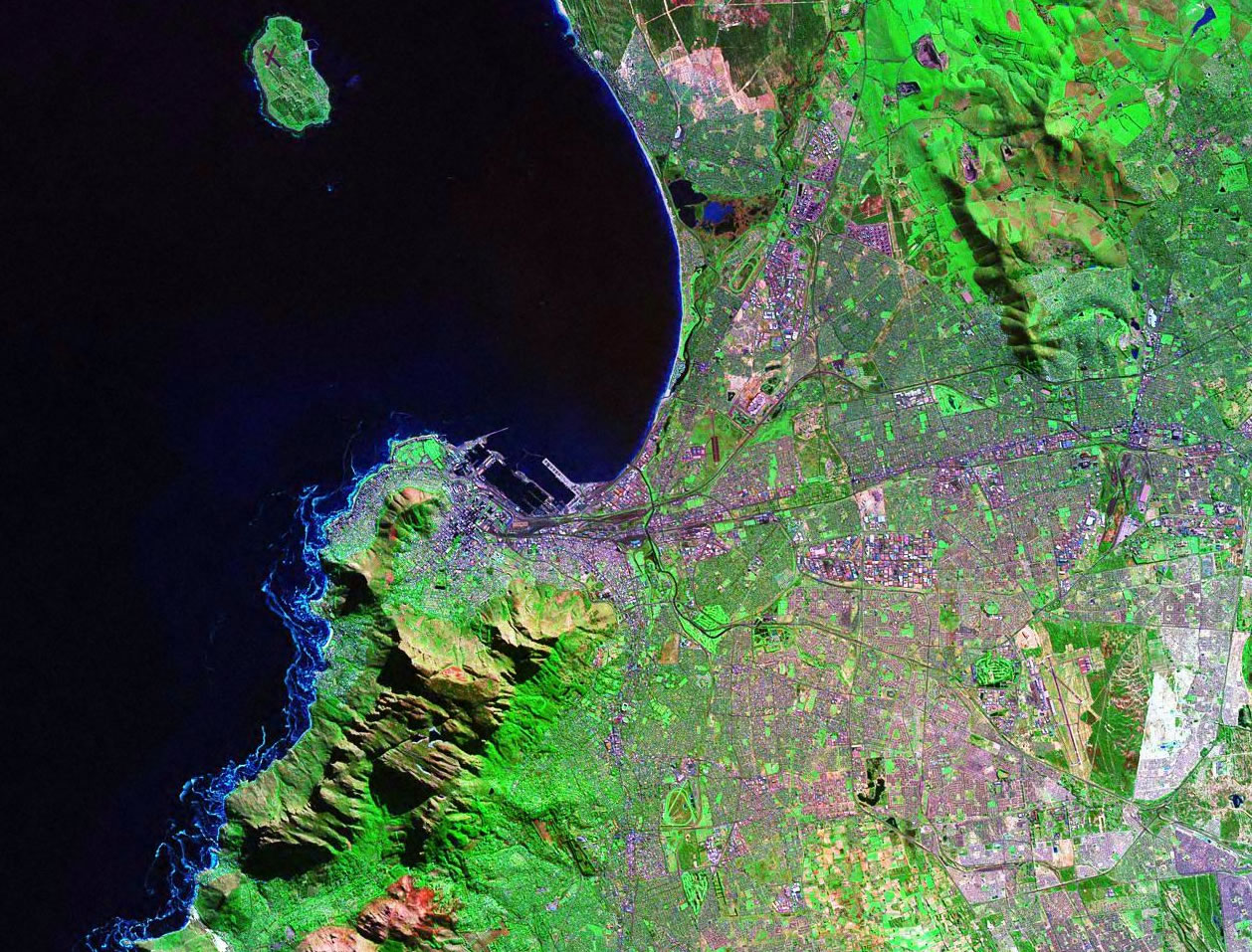 Cape Town South Africa satellite image map