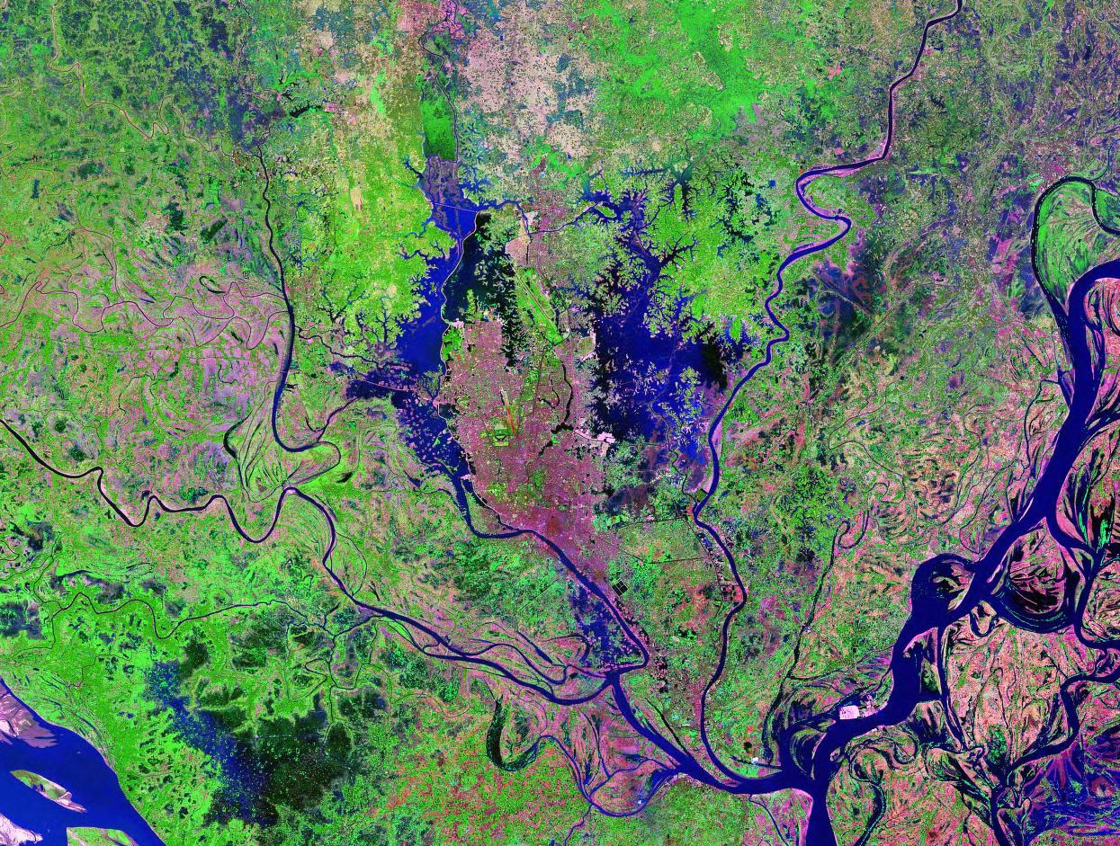Dhaka Bangladesh satellite image map