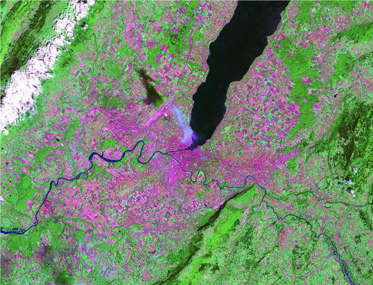 Geneva Switzerland satellite image map