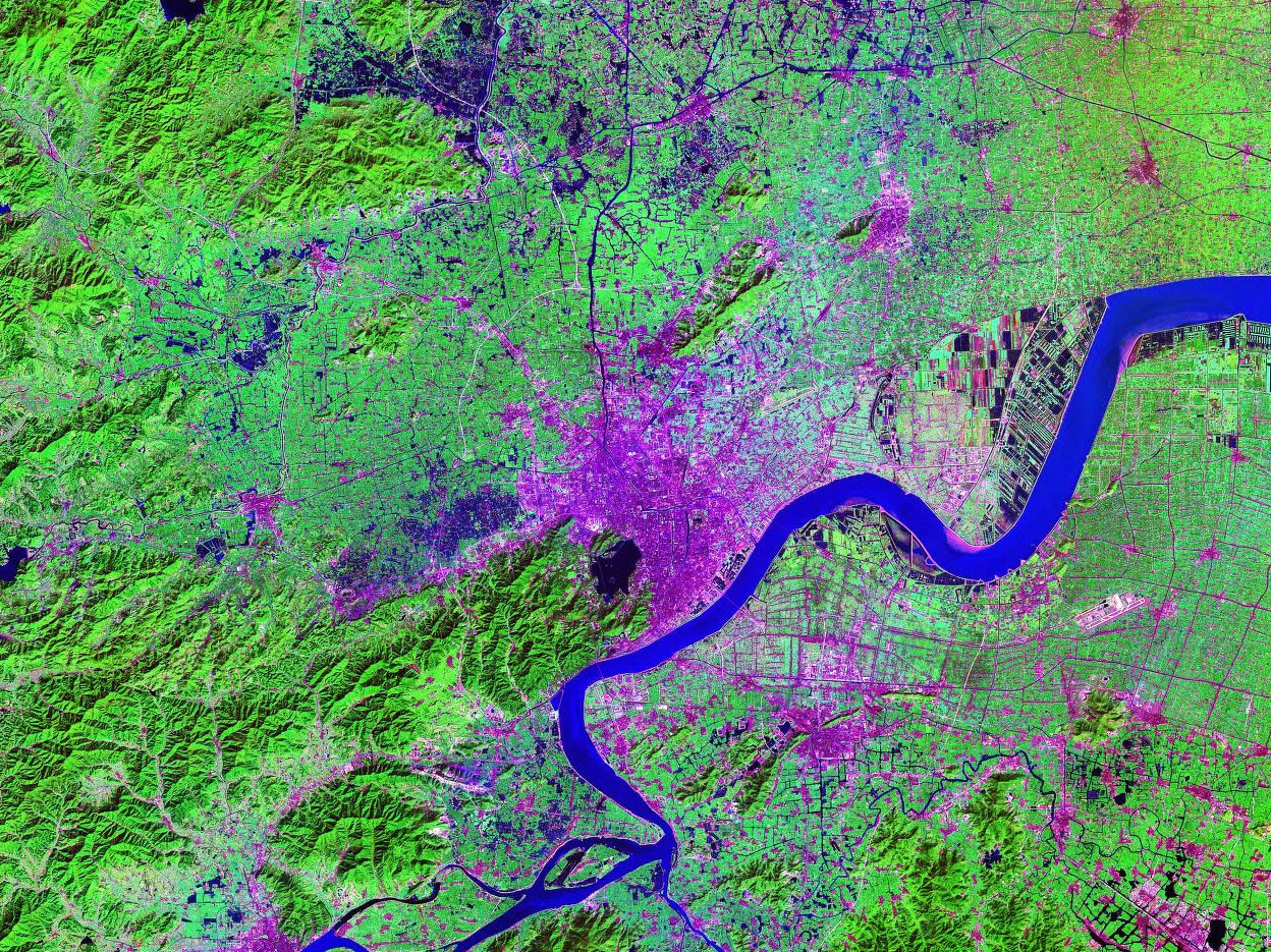 Hangzhou China satellite image map