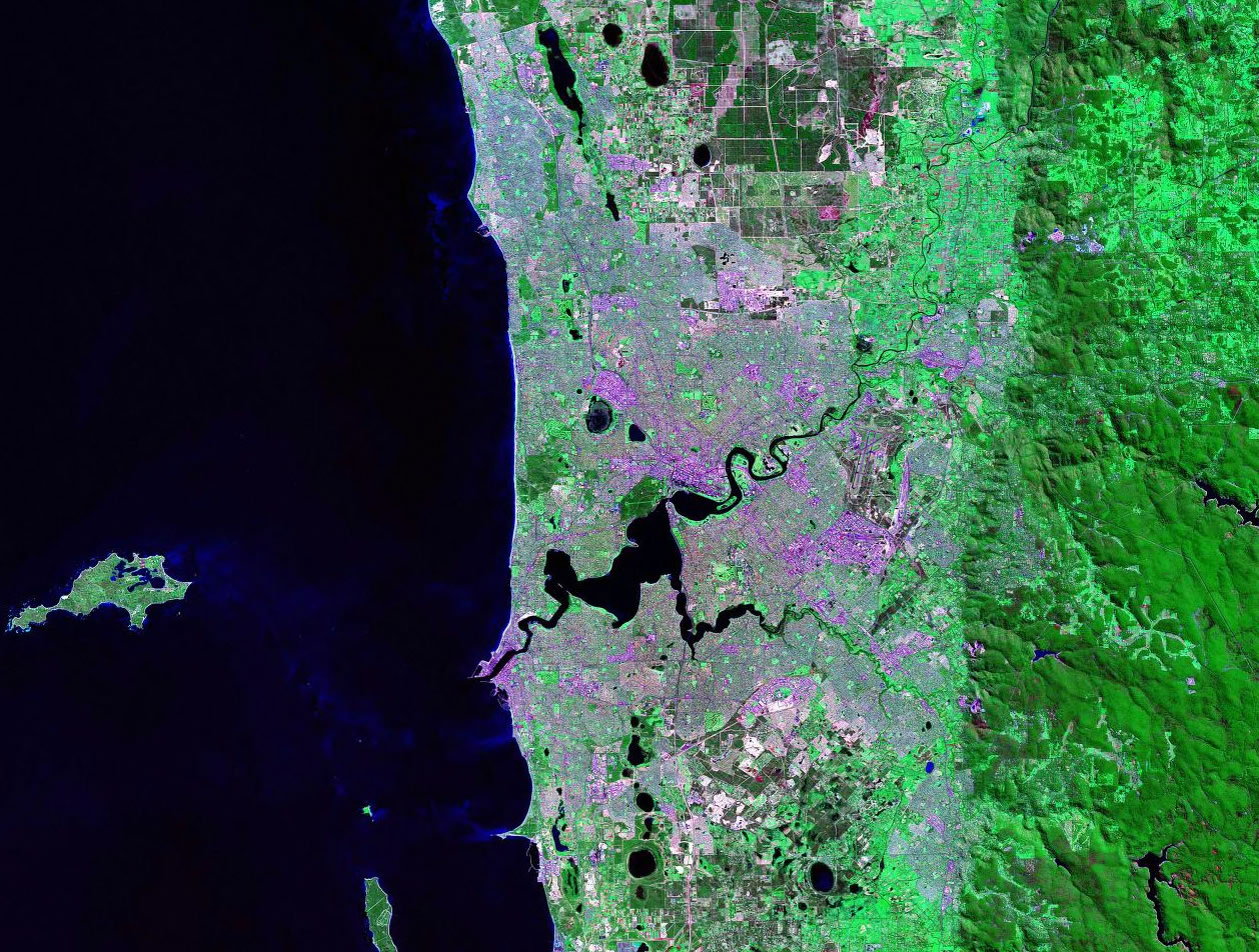 Perth Australia satellite image map