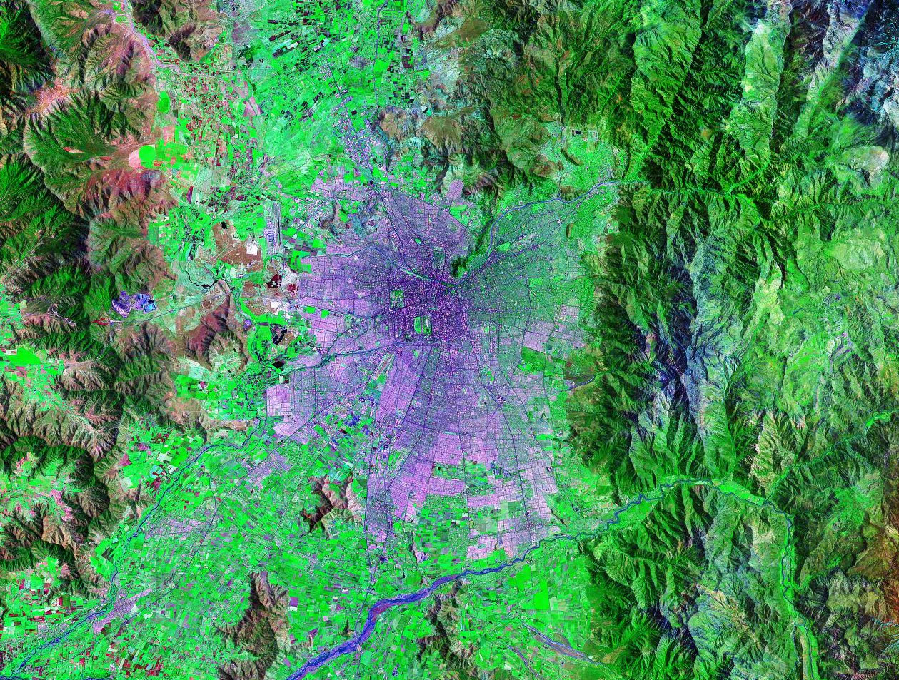 Santiago Chile satellite image map