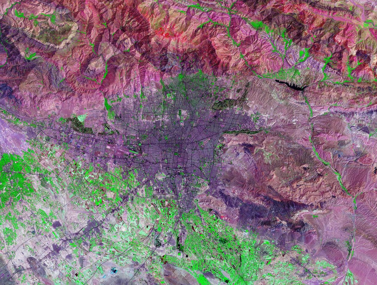 Tehran Iran satellite image map