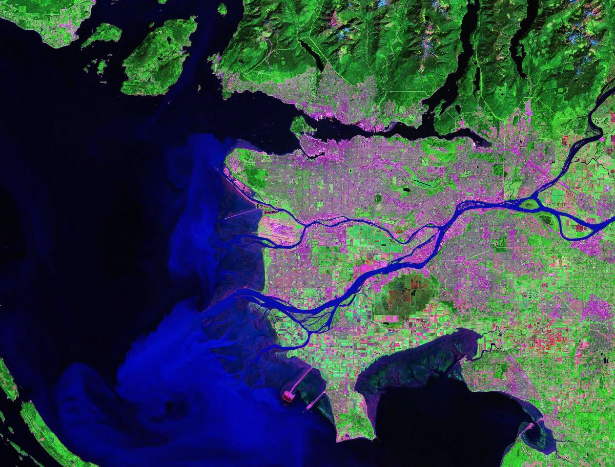 Vancouver Canada satellite image map