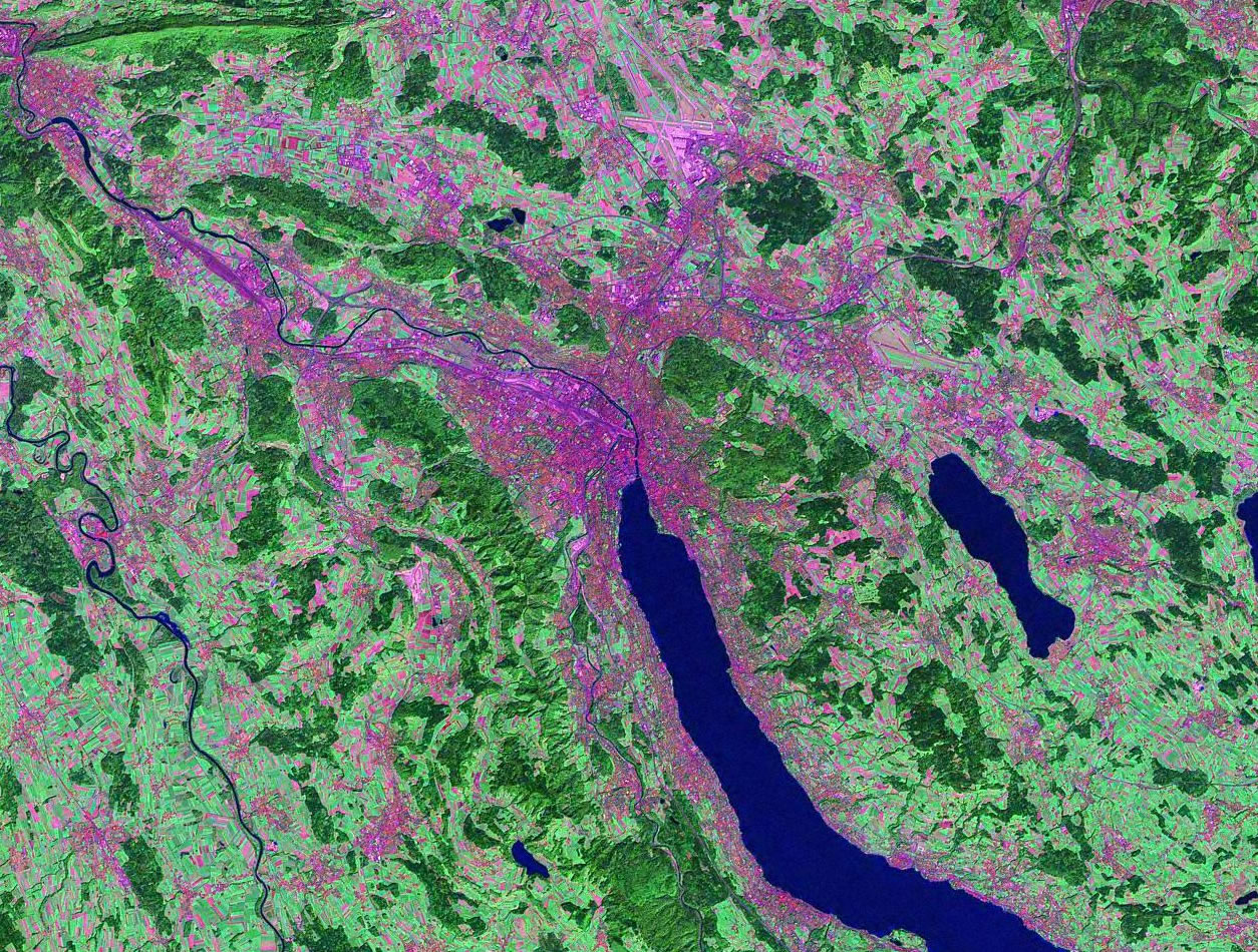 Zurich Switzerland satellite image map