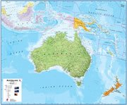 Papua New Guinea On a Large Wall Map of Australia