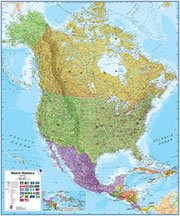 Costa Rica On a Large Wall Map of North America