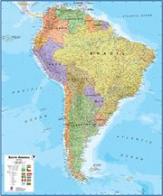 Suriname On a Large Wall Map of South America