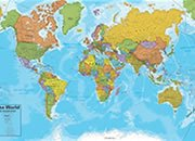 Asia on a World Wall Map