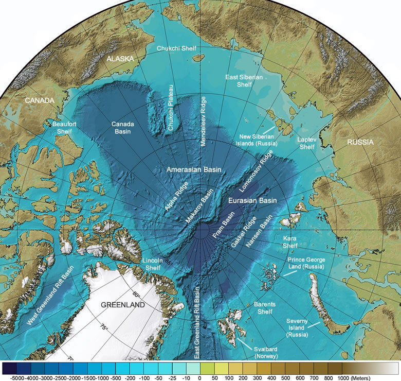 Pacific Ocean Topographic Map.Arctic Ocean Seafloor Map Depth Shelves Basins Ridges