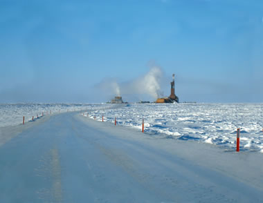 ice road to an oil rig