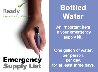 bottled water is an important item in your emergency supplies closet