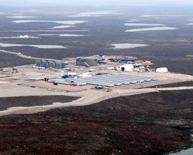 aerial image Gahcho Kue diamond mine