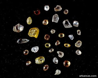 diamonds were found at the Crater of Diamonds. Most of the diamonds