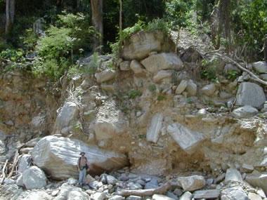 Material deposited by a prehistoric debris flow in northern Venezuela.