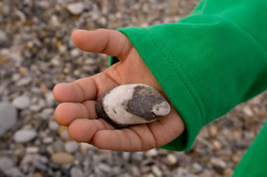 child with an unusual rock