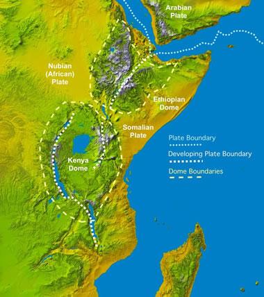 East Africa Rift plate boundary map