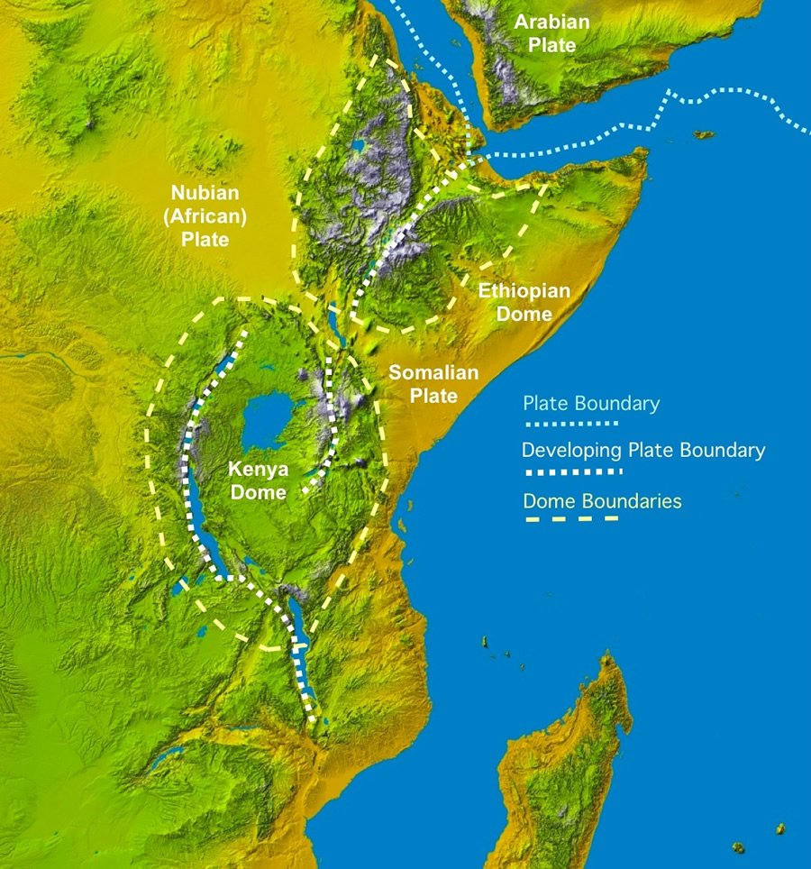 africa map with great rift valley