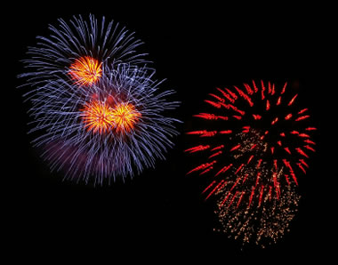 blue and red fireworks