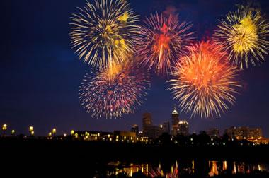 yellow and orange fireworks