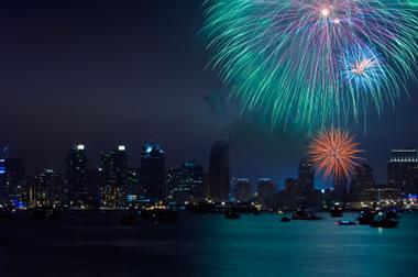 blue, purple, and orange fireworks