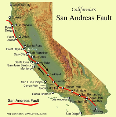 San Andreas Fault Line Fault Zone Map and s