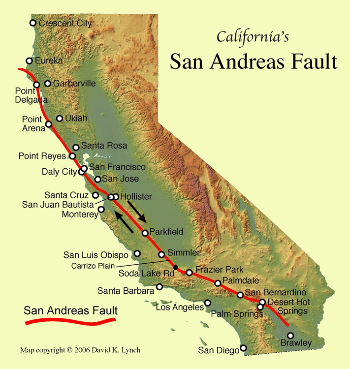 san andreas mapSan Andreas Fault Line   Fault Zone Map and Photos Ro6Miurw