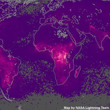 World Lightning Strikes Map - Map of lightning strikes in the us