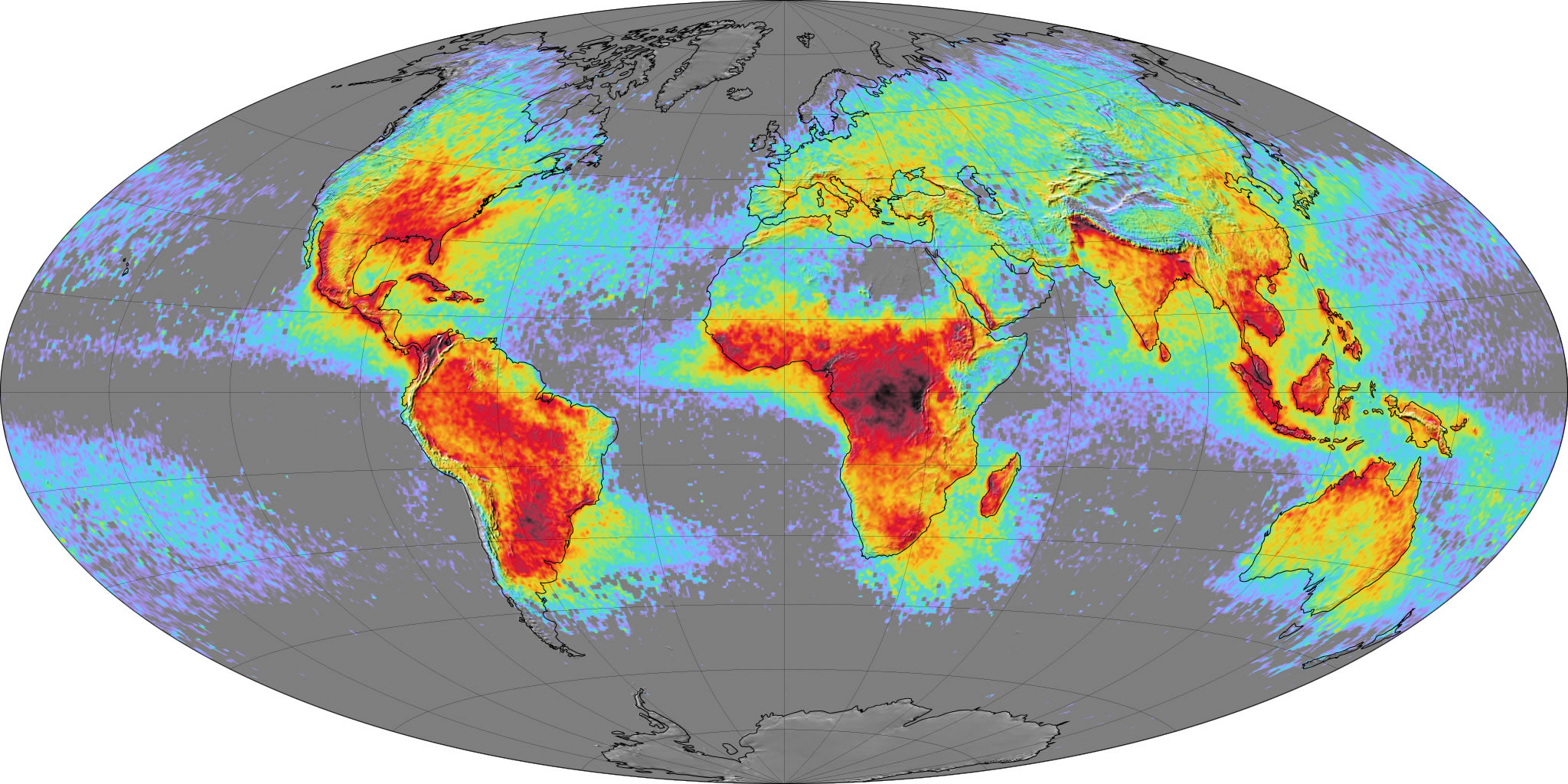 Global Lightning Activity Map 2015