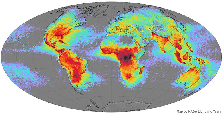 World Lightning Strikes Map