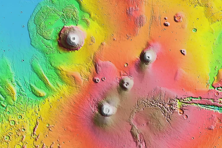 The Tallest Volcano On Mars And The Deepest Asteroid Crater - Map of the highest points in the us