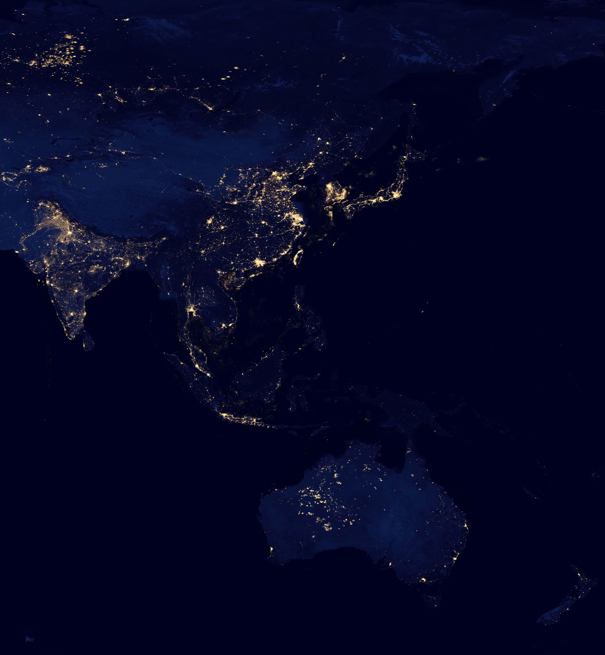 Night satellite photos earth us europe asia world satellite photo of asia and australia at night gumiabroncs Choice Image
