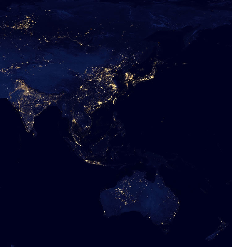 Asia and Australia at night