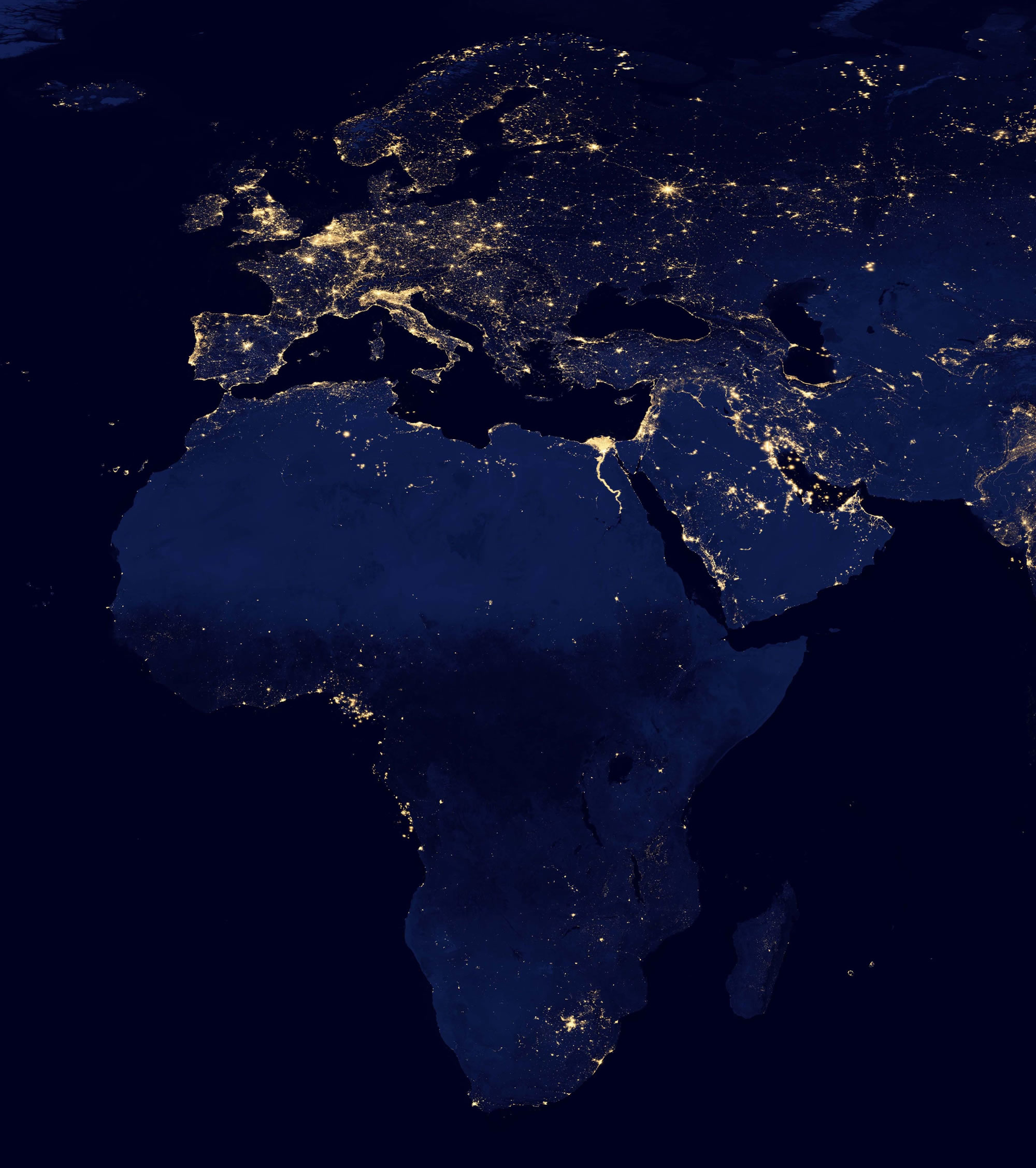 Night satellite photos earth us europe asia world europe and africa at night gumiabroncs Image collections