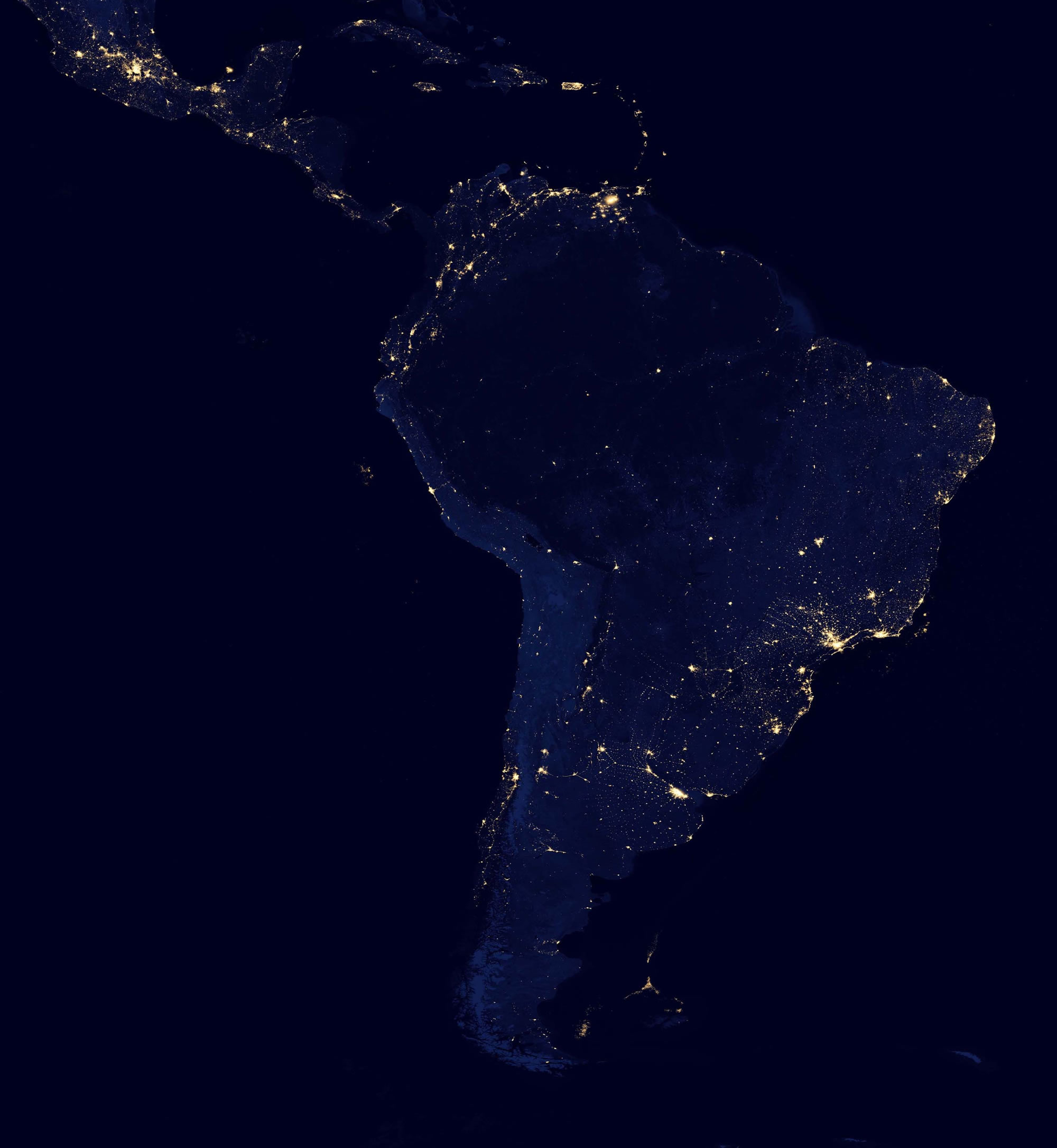 Night satellite photos earth us europe asia world satellite photo of south america at night gumiabroncs Image collections
