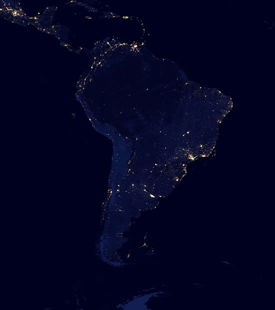 Night satellite photos earth us europe asia world satellite photo of south america at night gumiabroncs Choice Image