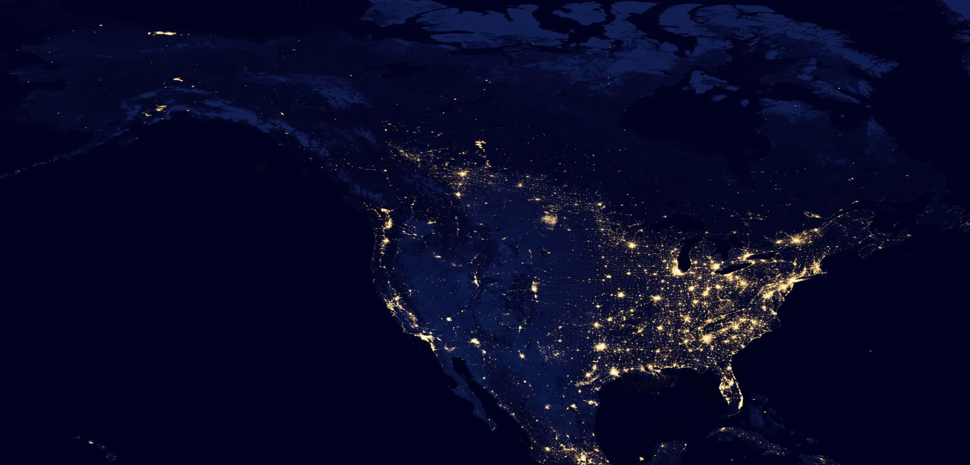 satellite photo of the united states at night