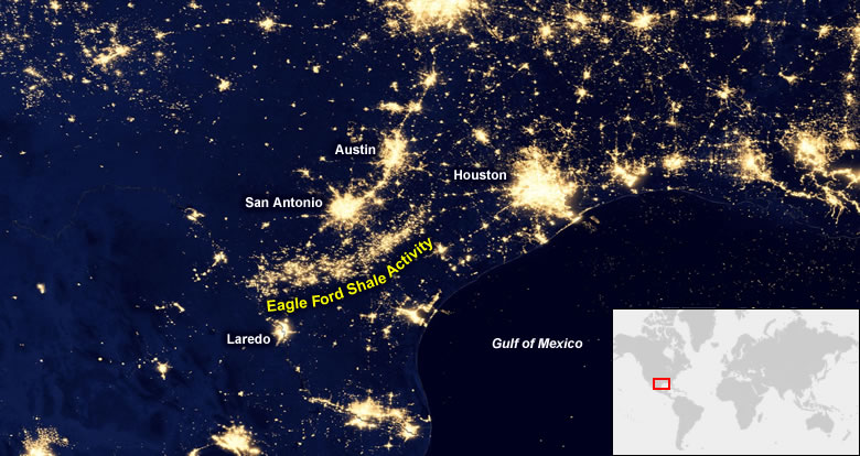 Oil Fields From Space At Night - World satellite night view