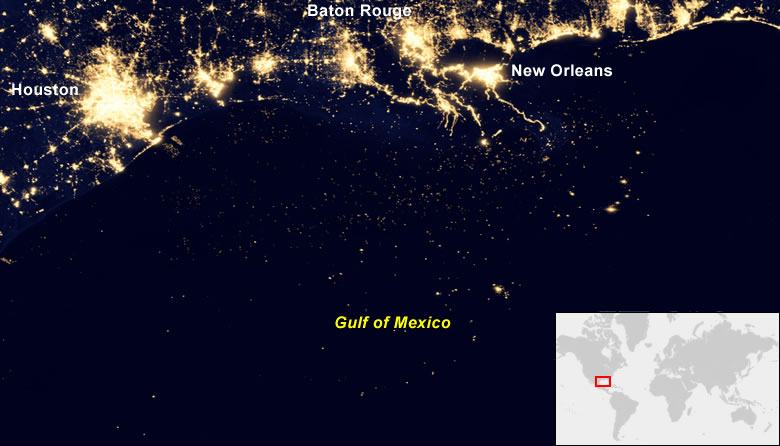Oil Rigs In Gulf Of Mexico Map.Oil Fields From Space At Night