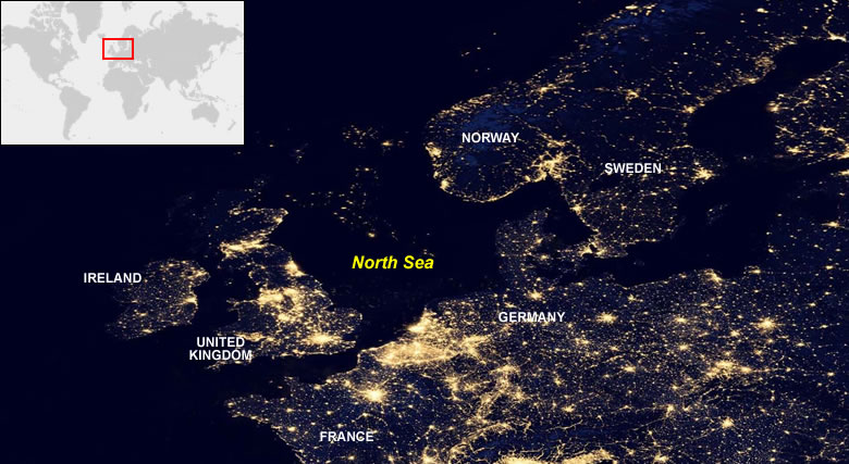 North Sea Oil Fields From Space