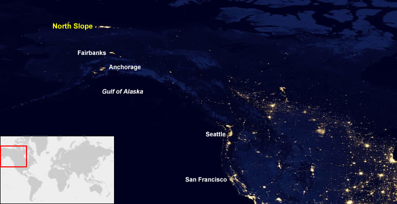 Oil Fields From Space At Night - Satellite map of se us at night
