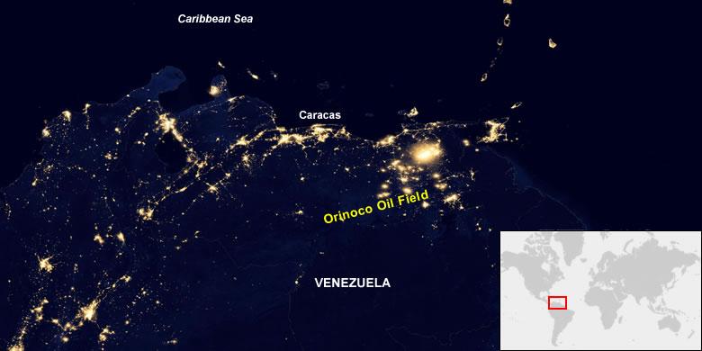 Onshore Venezuela oil fields from space