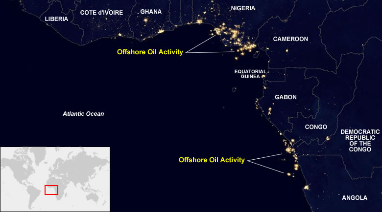 Map Of Africa From Space.Oil Fields From Space At Night
