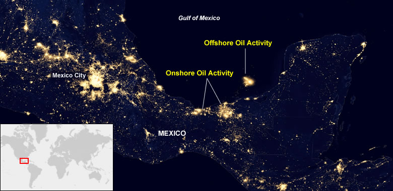 Mexico Ons And Offs Oil Fields From Space